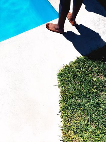 poolside Blue Green Grass Pool Low Section Human Body Part Body Part Human Leg Real People Lifestyles One Person Sunlight Nature Shadow Day Leisure Activity Standing Outdoors Water Human Foot Adult