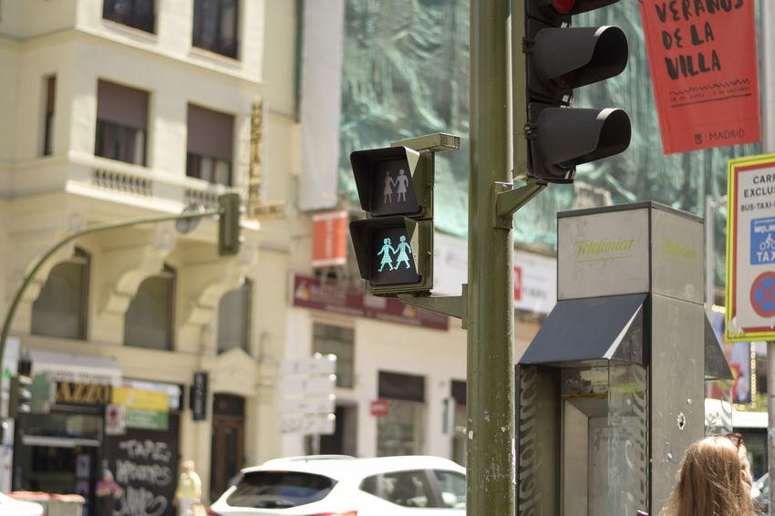 Gran Via, Madrid Madrid Sexuality Sexually Woman Gay Girl Lesbian Traffic Lights
