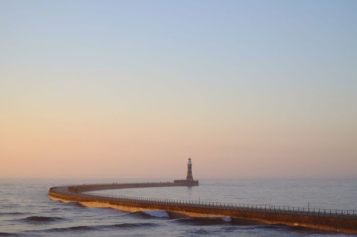 Roker Pier Lighthouse Morning Light Sunrise Dawn Water Sky Sea Clear Sky Beauty In Nature Scenics - Nature Nature Tranquility Horizon Tranquil Scene Horizon Over Water Beach