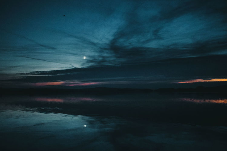 Mirror by nature Sky Cloud - Sky Beauty In Nature Scenics - Nature Tranquility Water Sunset Tranquil Scene Nature No People Sea Dramatic Sky Dusk Idyllic Reflection Waterfront Night Storm Lake Landscape Moon Brandenburg Mood Autumn Mood