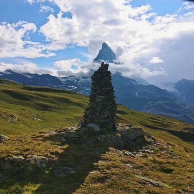 Matterhorn with the man made one. Mountain Sky Cloud - Sky Mountain Range Mountain Peak Snowcapped Mountain Rocky Mountains Scenics Zermatt Snow