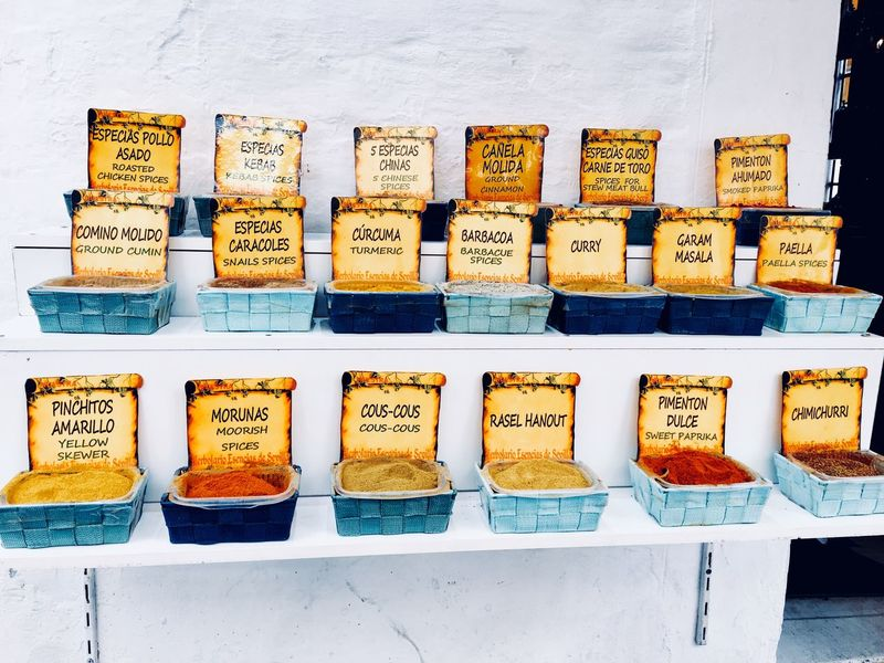 Pick your spices Herbs Variation Food And Drink Food Arrangement In A Row Text Choice For Sale No People Label Spice Outdoors Healthy Eating Day Freshness