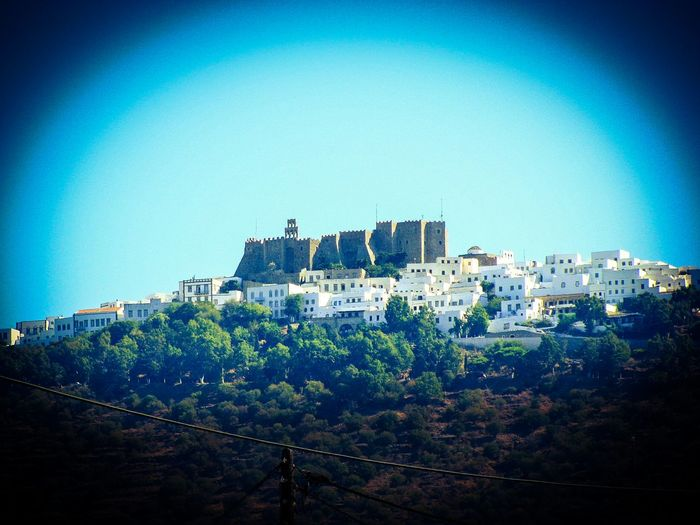 Monastery Monument Castle Fortress Village Patmos Island Greek Islands No People Forest Trees Houses Old Buildings Medieval Medieval Architecture Medieval Castle Architecture Seeing The Sights