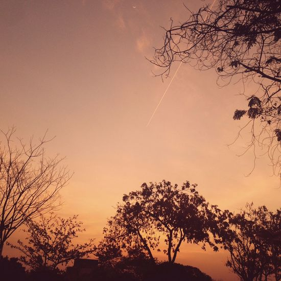 Sunset Sky Airplane Moon