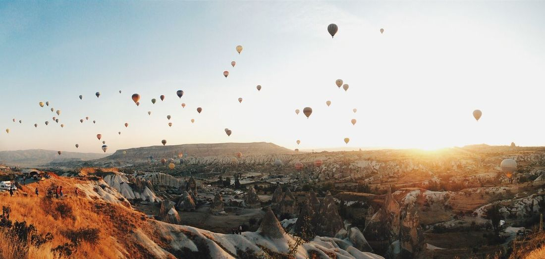 Morning View Sunset Mountain Landscape Flying Sunlight Hot Air Balloon Day Nature Sky Outdoors Beauty In Nature Travel Destinations Travel Turkey Contrast Blue Sky Summer Vibes Panorama Traveling Highlights Golden Done That. Lost In The Landscape