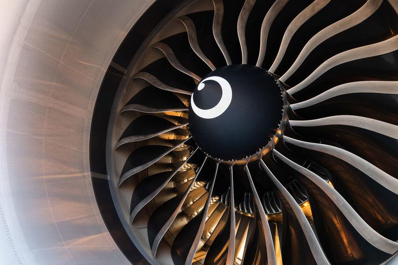 Close-up of turbo jet engine