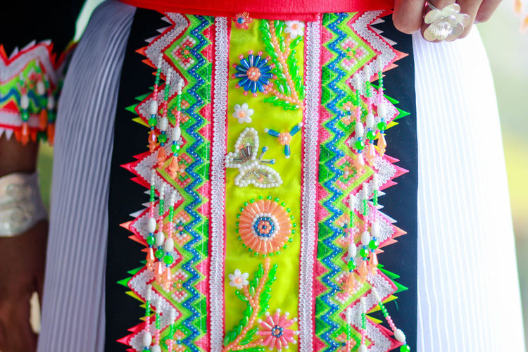 Hmong Life Art And Craft Celebration Close-up Day Decoration Design Floral Pattern Focus On Foreground Hanging Hmong Hmong_cuties Hmonglife Leisure Activity Lifestyles Men Multi Colored One Person Outdoors Pattern Real People Traditional Clothing Unrecognizable Person