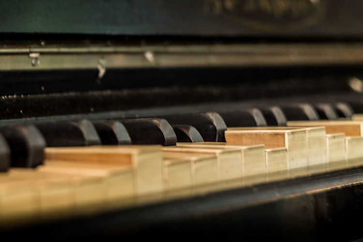 Belarus Minsk Arts Culture And Entertainment Black Color Close-up Focus On Foreground Indoors  Keyboard Keyboard Instrument Music Musical Equipment Musical Instrument No People Old Piano Piano Key Selective Focus