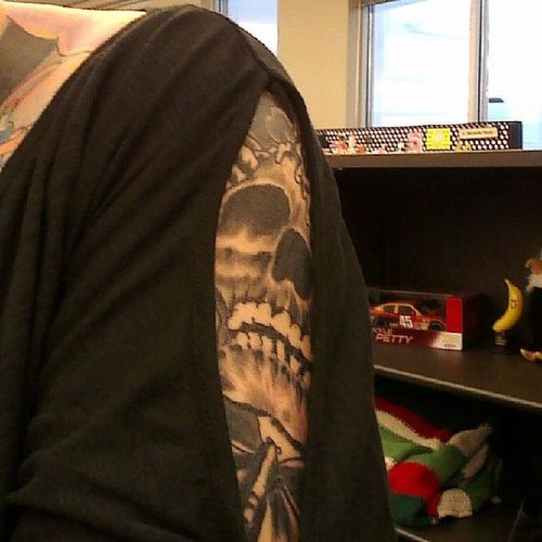 Peekaboo :) Girlswithtattoos Girlswithhalfsleeves Tattooedwomen Tattoos inkedgirls inked work mondayssuck tattooedandemployed office