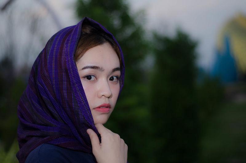 Portrait of woman wearing headscarf