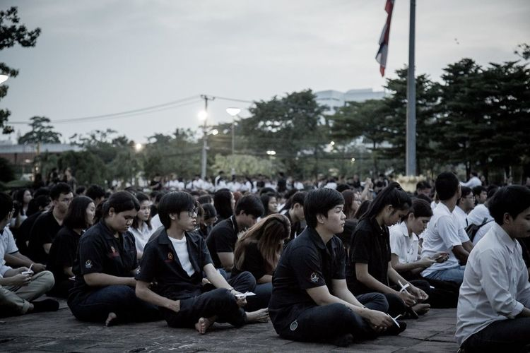 RAMA9 I Love King Sad Day Sitting Student Thailand Crowd Day Large Group Of People Outdoors People people and places Real People Sitting Sky Tree