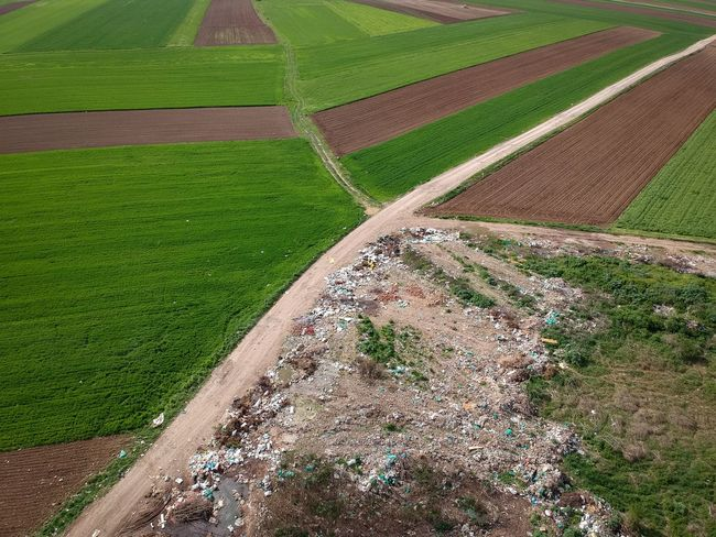 Wild landfill Dji Aerial Dirty Landfill Trash Growth Agriculture Landscape Environment Field Land Plant No People Rural Scene Farm Nature Green Color Day High Angle View Outdoors Crop  Grass End Plastic Pollution