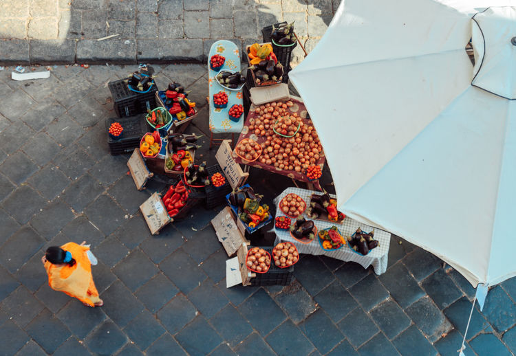 Catania Indian Woman Market Shopping Sicily Birds Eye View Day High Angle View Market Stall No People Outdoors Street Tomatoes Vegetables