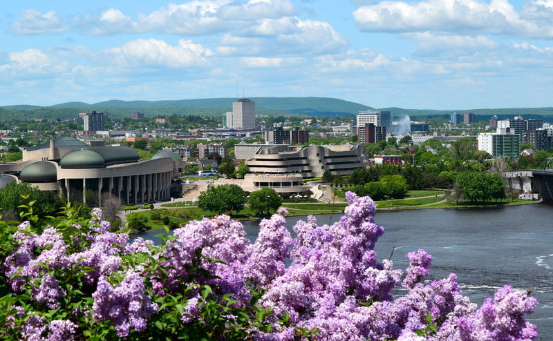 Architecture Beauty In Nature Blossom Building Exterior Built Structure Canadian Museum Of Human Rights City Cityscape Cloud - Sky Day Flower Fragility Freshness Growth High Angle View In Bloom Nature Ontario Ottawa Ottawa River  Quebec Sky Springtime State Border Water