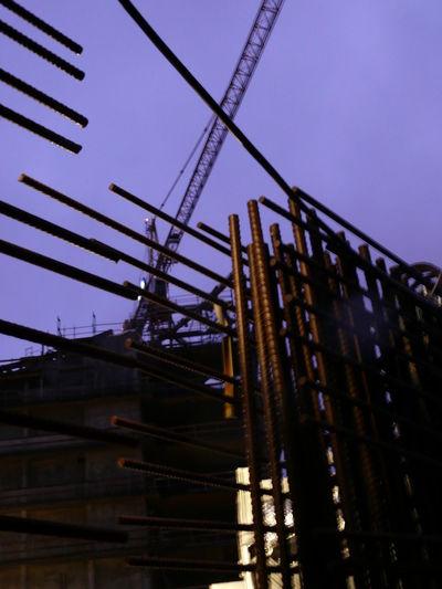 Architecture Blue Building Building Crane Built Structure Construction Construction Site Elbe River Hamburg Iron Rod Metal Philharmonie Sky