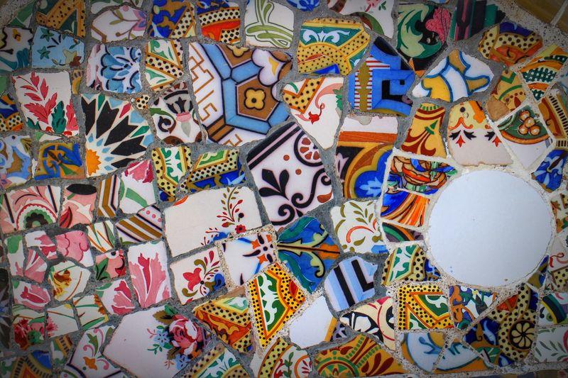 Full frame shot of mosaic artwork on wall