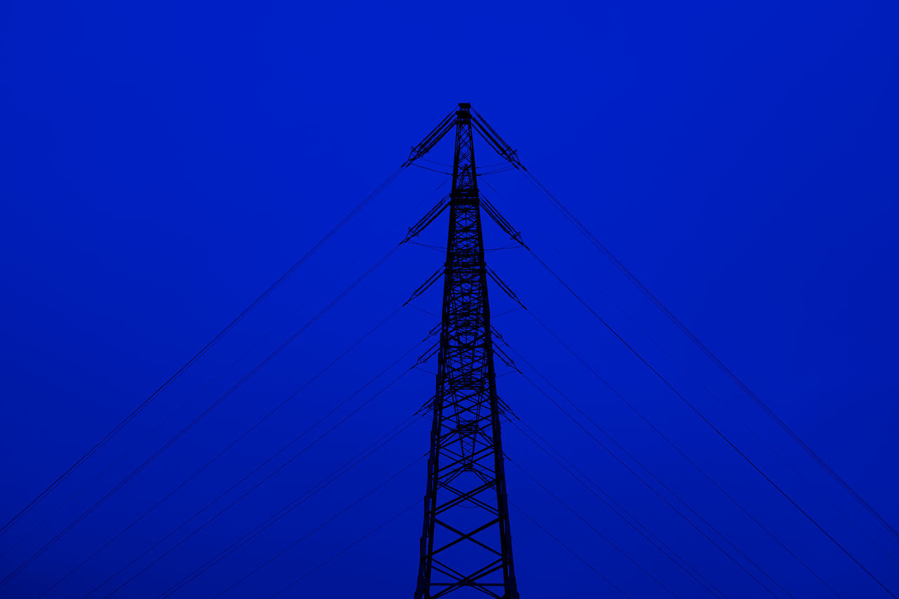 blue, connection, cable, clear sky, no people, electricity, electricity pylon, low angle view, tall, outdoors, day, sky