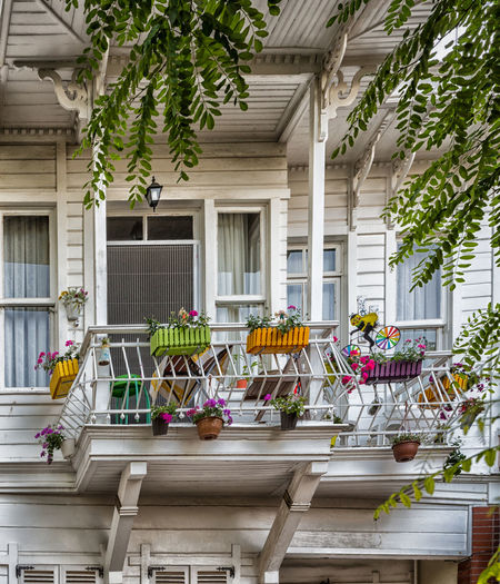beautiful balcony Architecture Home Exterior Wood Architecture Balcony Building Exterior Built Structure Day Daylight Decoration Exterior Building Exterior View Flowers No People White