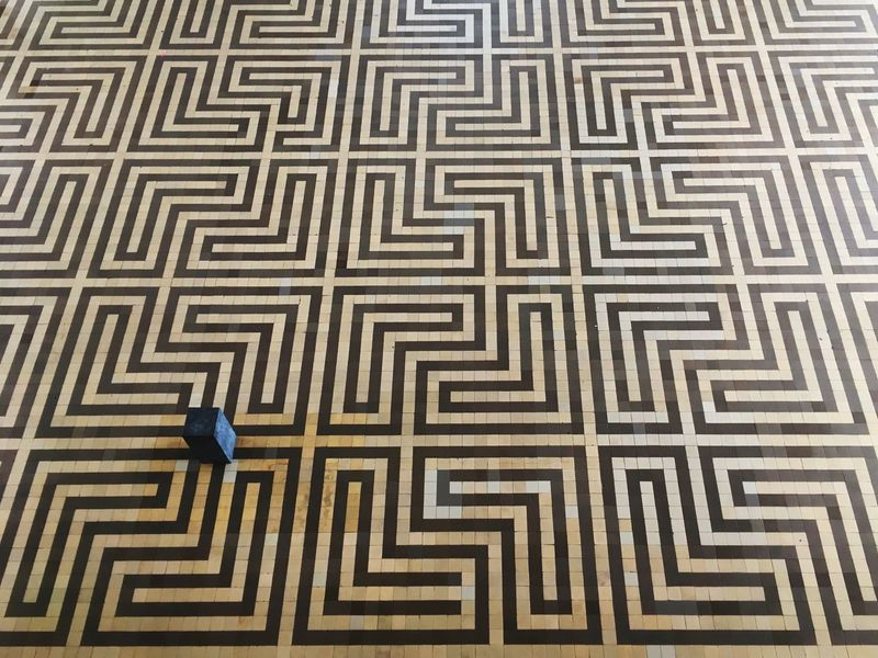 Tiled Floor of the Radio Kootwijk Radio Station Art Deco Art Deco Style Maze Pattern Pattern Photography Floor Tiles Mozaik Yellow Yellow Tiles Contrasting Textures there is a flaw in the pattern that was added on purpose as a signature of the architect of this amazing building.