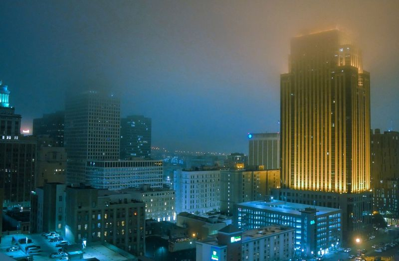 City Lights Foggy Night Architecture Architecture Building Exterior Built Structure Illuminated City Night EyeEmNewHere Cityscape Skyscraper Outdoors Modern Urban Skyline Sky Travel Destinations