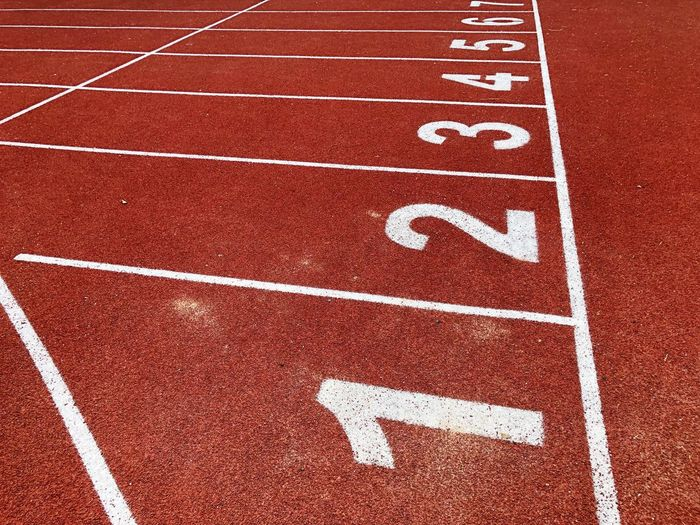 High angle view of numbers on sports track