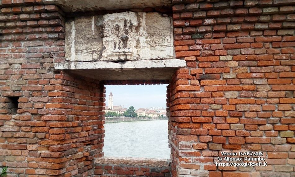 Window Italy Verona Castelvecchio Verona Water Brick Wall Architecture Sky Building Exterior Built Structure Stone Wall Historic Fortress