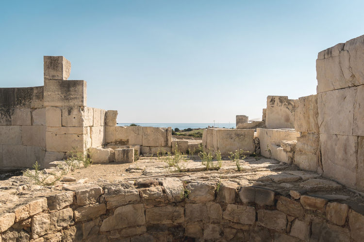 Ancient Ancient Civilization Ancient History Archaeology Architecture Built Structure Clear Sky Day Greek Mythology History Kourion Monument Nature No People Old Ruin Ruins Stone Material Summer Temple The Past Travel Destinations Sea And Sky Viewpoint