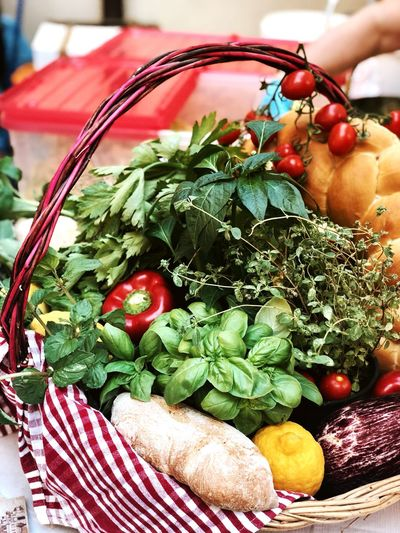 Close-up of food in basket on table