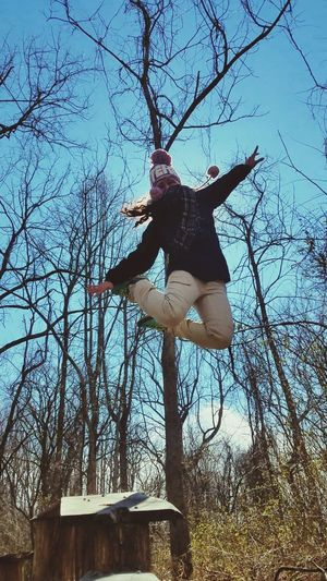 Jumping High Mid-air Nature Outdoors Low Angle View Happy Happy People Woods Tree People Day First Eyeem Photo