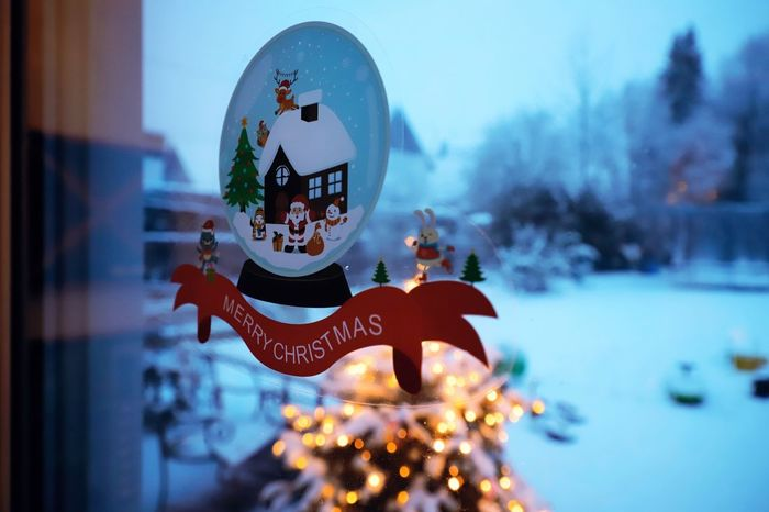 Christmas Lights Merry Christmas! Sticker Christmas Christmas Decoration Christmas Ornament christmas tree Close-up Cold Temperature Day Focus On Foreground Merry Christmas Mery Christmas No People Outdoors Sky Snow Tree Window Window Stickers Winter
