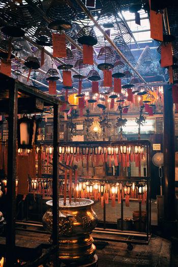 High angle view of illuminated lanterns in city at night