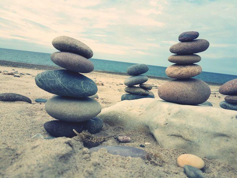 EyeEm Selects Be. Ready Be.Ready Dänemark Denmark Beach Balance Sand Rock - Object Zen-like Tranquility Sea Nature Cloud - Sky Water Outdoors Beauty In Nature 3XSPUnity EyeEm