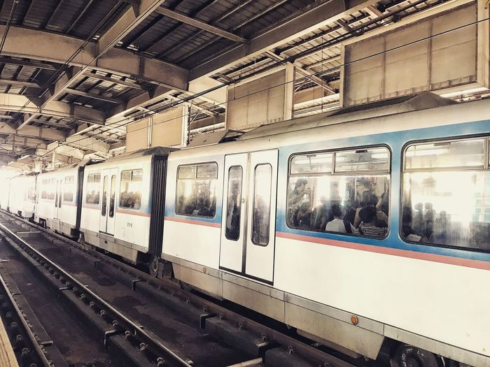 """""""Passenger Life."""" Mobilephotography NewbiePhotography Photography Iphone7plusphotography IPhone7Plus IPhoneography Outdoors Transportation Train - Vehicle Rail Transportation Public Transportation Mode Of Transport Passenger Train Railroad Station Day"""