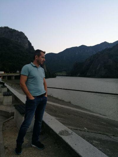 10 Mountain Full Length Clear Sky Men Beard Standing Jeans Sky Casual Clothing Mountain Range Lakeside Mountain Road