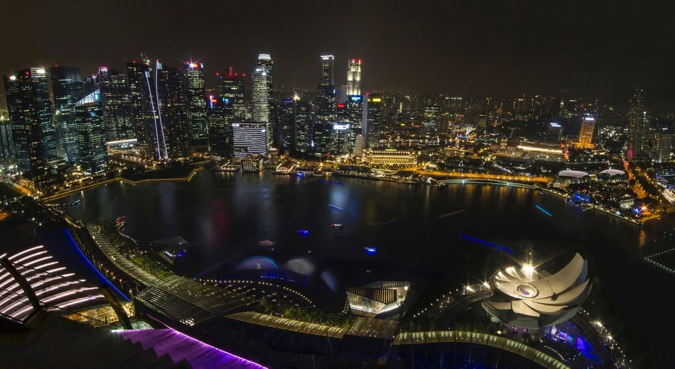 Panoramic view of Singapore harbor and financial district Night Lights Tourist Destination Tourist Attraction  Night Photography Panoramic Photography Marina Bay Sands Singapore Night Illuminated Architecture City Building Exterior Cityscape Built Structure Skyscraper No People Outdoors Travel Destinations Urban Skyline Sky Modern Stories From The City