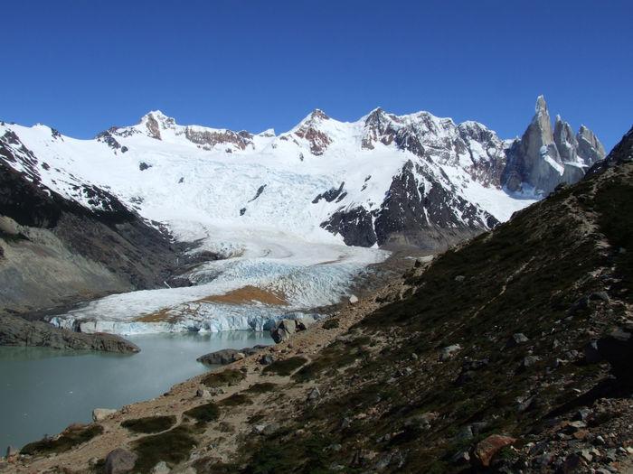 Cerro torre mountain range with glaciers and glacier lake