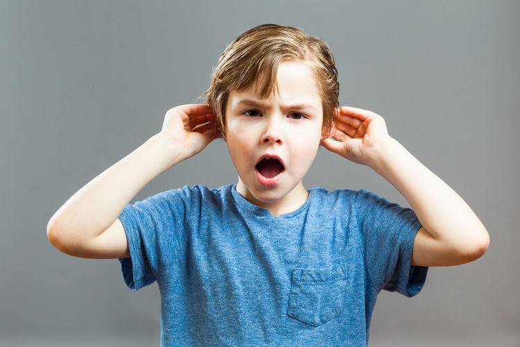Five year old boy emotion series Boy Child Ears Emotions Feelings Hearing Kids Mouth Noise People Portrait Preschooler Screaming