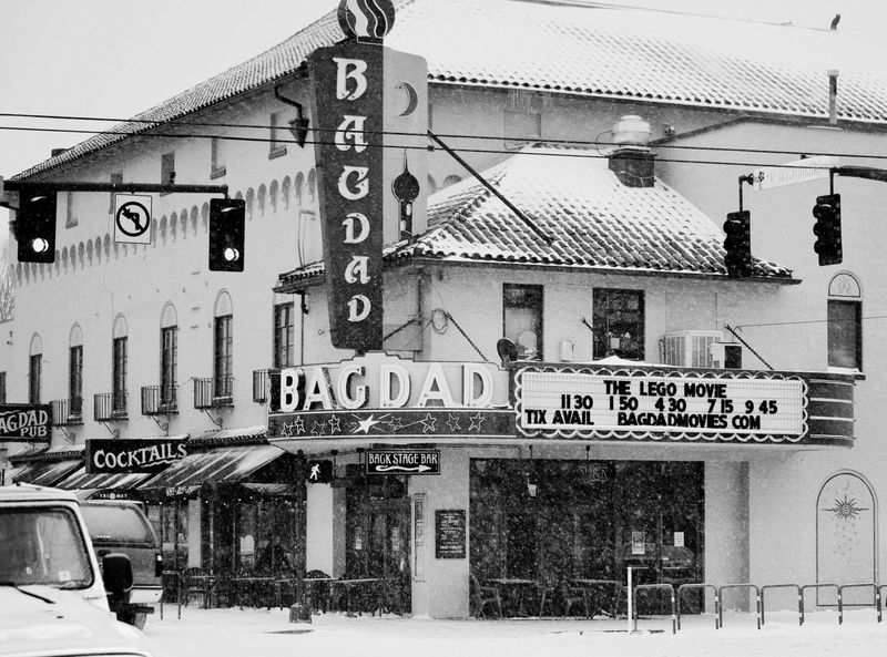 Trekking through the snow for a hot tottie and a flick A Through The Snow Cinema In Your Life Winter Movie Time Movie Theater Snow Snow Day Winter Wonderland Bar Mcmenamins Portlandia First Eyeem Photo Black And White Weather Vintage Old Theater Marquee LEGO Cocktails Back Stage