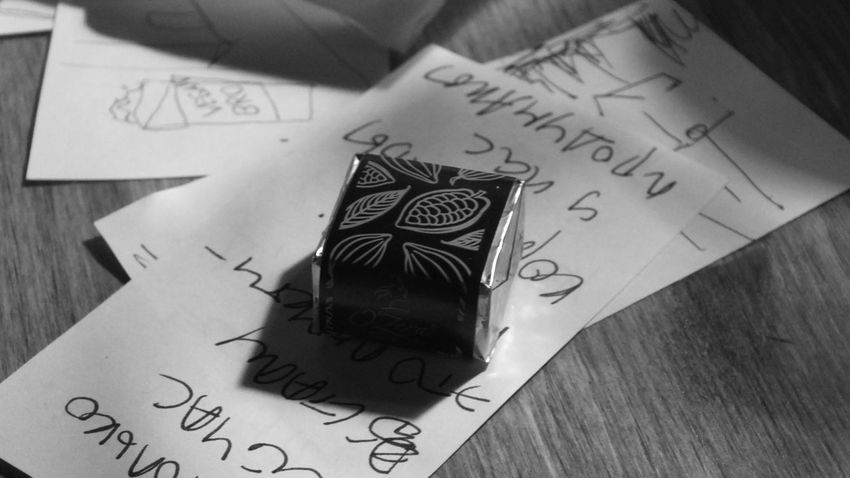 С h o c o l a t e С u b e B&w Black&white Bqw Chocolate Cocao Darkchocolate Day Macro No People Ornament Table