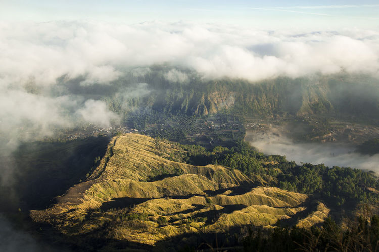 Scenic view of landscape against sky during sunrise, mt. batur, indonesia