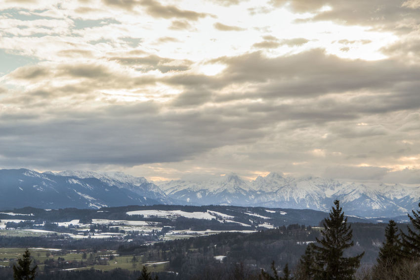 view from Peißenberg Beauty In Nature Cloud - Sky Cold Temperature Day Landscape Mountain Mountain Range Nature No People Outdoors Range Scenics Sky Snow Tree Winter