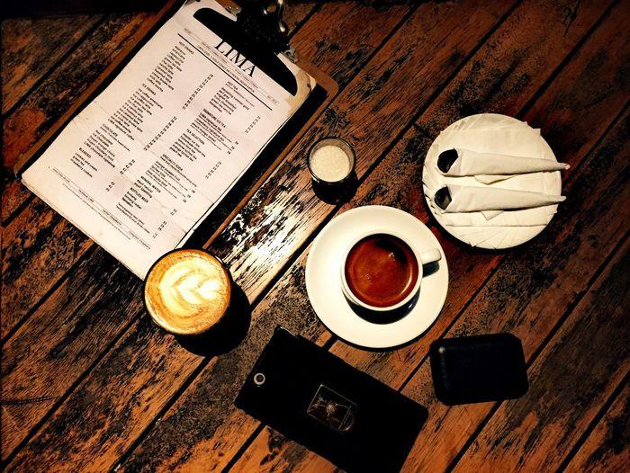 Cofee Time Coffee Mug Coffeeaddict Coffeelover Coffeeshop Qualitytime Coffee Art Table Wood - Material Night Shot Potrait_photography Potraitphoto Potraitmood Irishlatte Americano Coffee Picoftheday Indoors  High Angle View Communication No People Music Close-up Day EyeEmNewHere