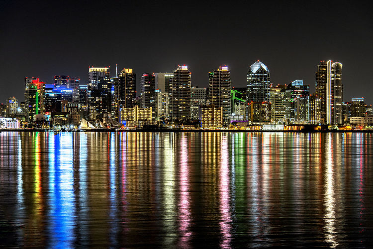 Reflection of cityscape on water at night