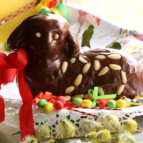 Chocolate Easter lamb with fewer decoration indoor with light from a side front view detail Bohemian Bread Roll Easter Easter Egg Easter Ready Easter Egg Hunt Easter Traditions Easter Whip Holiday Slavic Tradition Black Brown Cake Czech Traditions Decoration Delicious Easter Cake Eggs Food Gourmet Plate Red Bow Table-cloth Traditional Willow Blossoms
