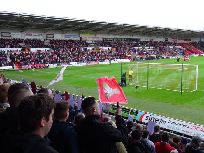 If you need me during the football season, this is where you'll find me Black Bank Crowd Doncaster Rovers Football Game Football Stadium Footballislife Keepmoat Stadium Large Group Of People