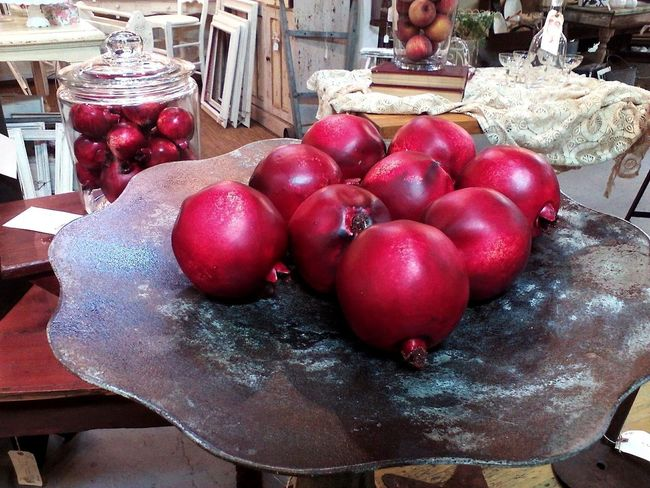 Decor Pomegranates  Red Valentine's Day  Antique Shop Arrangement Artificial Fruit Jar Large Group Of Objects love yourself Pomegranate Valentine's Day - Holiday