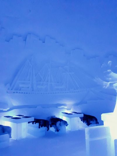 Ships in Ice Bar Cold Temperature Icy Ice Seats Ice Table Shades Of Blue Magical Place Winter_collection Norway Beauty Nightspot Winter Wonderland Crafted Beauty Carved Scene Frozen Ice Hotel Ice Art Cool Places Travel And Tourism Cocktails On Ice Illumination Cool Travel Locations Ship Ship Carving Travel_collection Blue No People Low Angle View Close-up Winter Connection