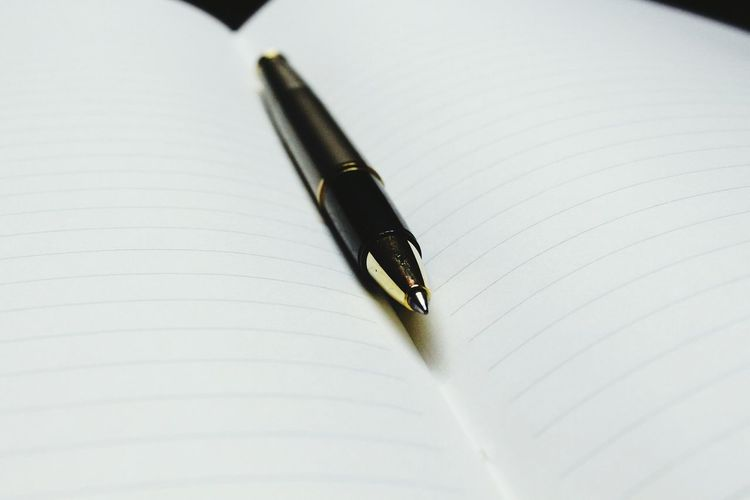 Close-up of ballpoint pen on open blank book