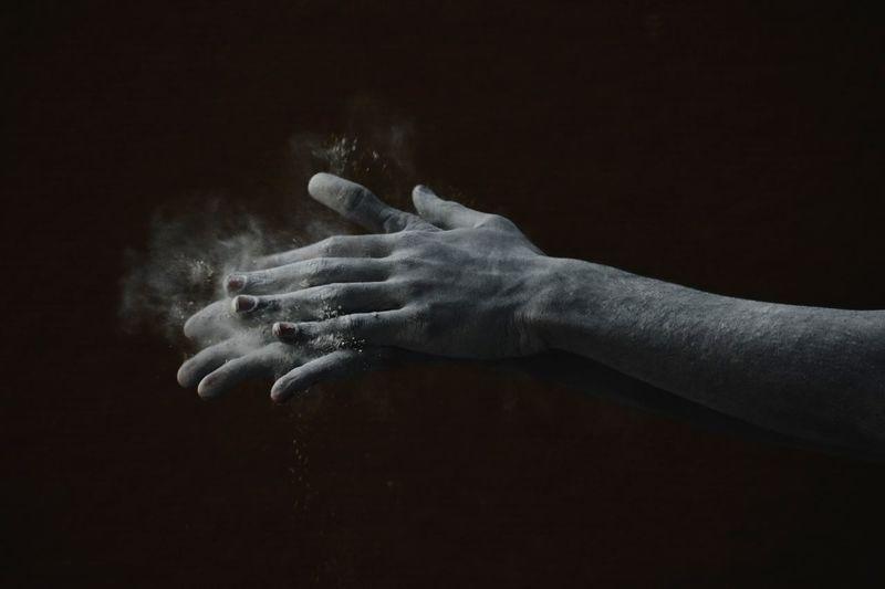 Human Hand Black Background Talcum Powder Palm Studio Shot Hand Human Finger Close-up