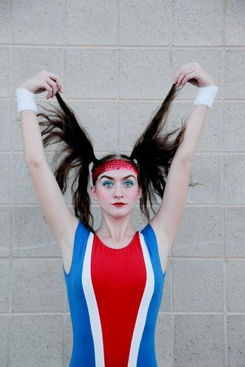 1980s 80s America Attitude Blue Costume Cute Fun Girl Gymnastics Hair Halloween Love Model People Person Photoshoot Portrait Red Retro Sport Sporty Teen White